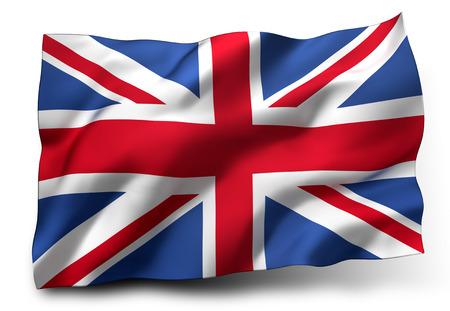 Golvende vlag van het Verenigd Koninkrijk op een witte achtergrond Stockfoto