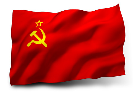 Waving flag of Soviet Union isolated on white background Banco de Imagens