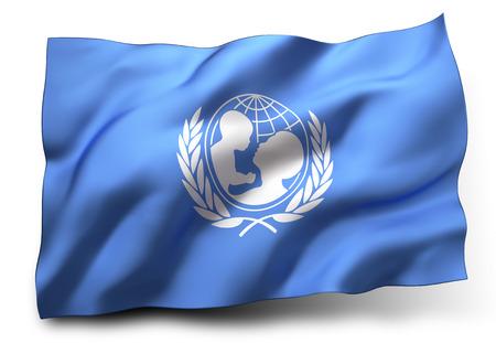 Waving flag of Unicef isolated on white background