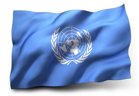 the united nations: Ondeando la bandera de las Naciones Unidas sobre fondo blanco Foto de archivo
