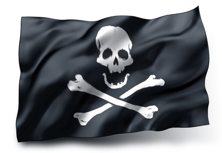Waving black pirate flag with skull and crossbones symbol isolated on white background Stock Photo