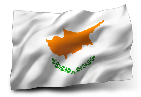 eec: Waving flag of Cyprus isolated on white background