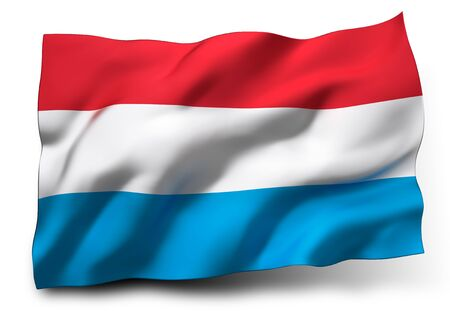 eec: Waving flag of Luxembourg isolated on white background