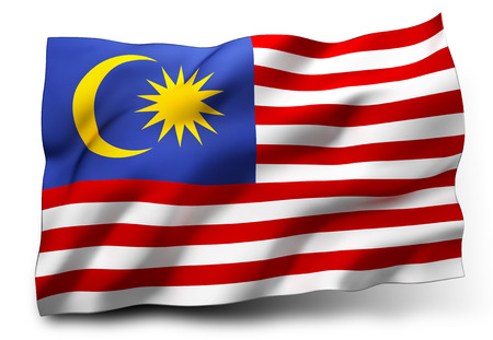 Waving flag of Malaysia isolated on white background