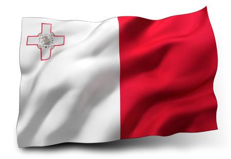 eec: Waving flag of Malta isolated on white background
