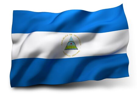 nicaragua: Waving flag of Nicaragua isolated on white background Stock Photo