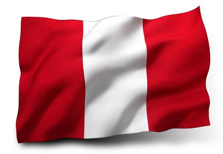 bandera de peru: Ondeando la bandera de Perú aislado en fondo blanco Foto de archivo