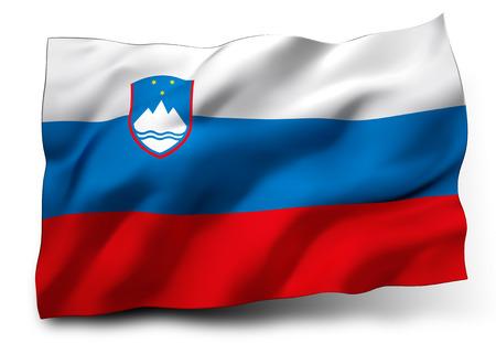eec: Waving flag of Slovenia isolated on white background Stock Photo