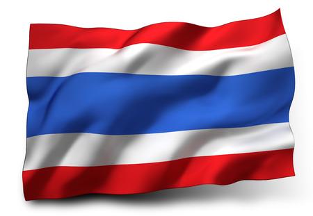 Waving flag of Thailand isolated on white background Stock Photo