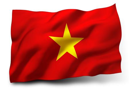vietnam flag: Waving flag of Vietnam isolated on white background