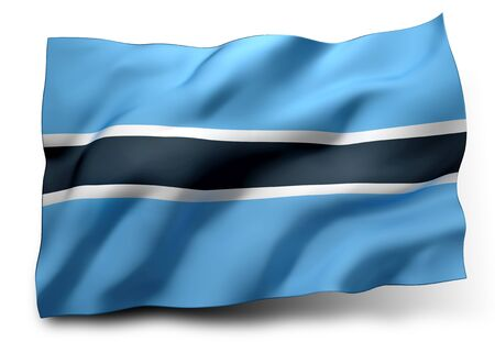 botswanan: Waving flag of Botswana isolated on white background