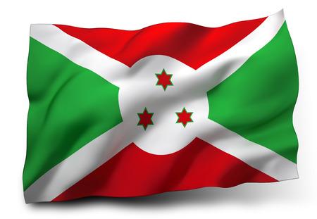 burundi: Waving flag of Burundi isolated on white background Stock Photo