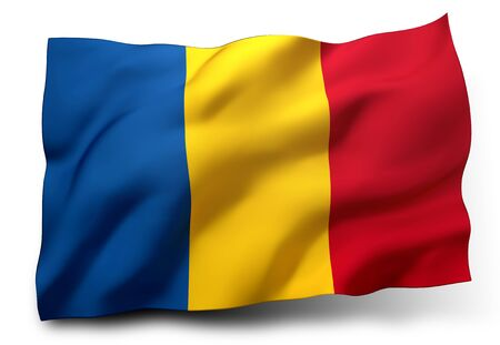 chadian: Waving flag of Chad isolated on white background Stock Photo