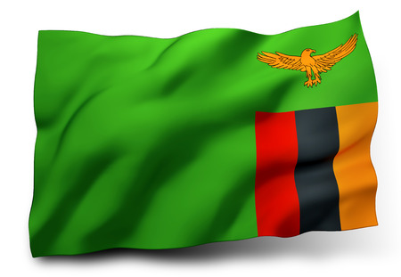 zambian: Waving flag of Zambia isolated on white background