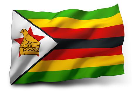 zimbabwe: Ondeando la bandera de Zimbabwe aislado en fondo blanco