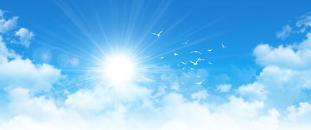 Panoramic cloudscape. High resolution blue sky background. Sun and birds breaking through white clouds Standard-Bild