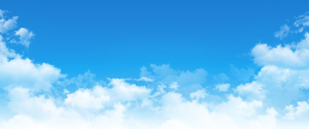 Panoramic cloudscape. High resolution blue sky background. White clouds composition in daylight