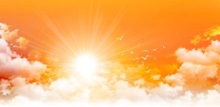 Panoramisch zonsopgang. Hoge resolutie oranje hemel achtergrond. Zon en vogels breken door witte wolken Stockfoto