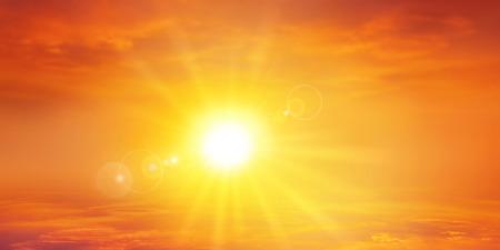 słońce: Panoramiczny ciepło słońca. Niebo w tle wysokiej rozdzielczości z promiennym Setting Sun