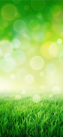 sensation: Green sensation. Imaginary grass field. Abstract glowing circle effect background