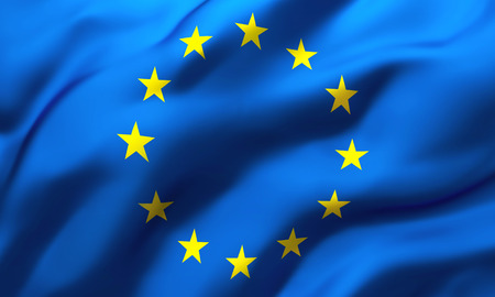 Full frame background of European flag blowing in the wind Foto de archivo