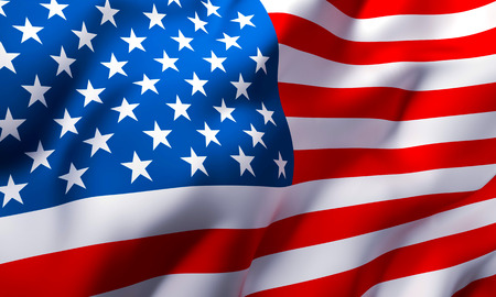 Full frame background of USA Country flag blowing in the wind Stock Photo
