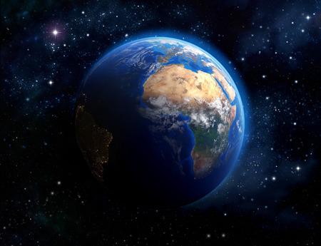 globo mundo: Vista imaginaria del planeta tierra en el espacio exterior.