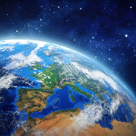 Imaginary view of planet earth in outer space.  Stock Photo