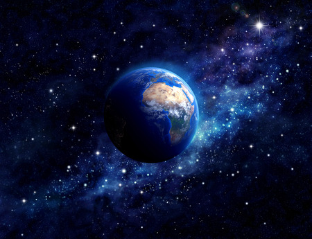 Imaginary view of planet earth in a star field. Elements of this image furnished by NASA Stock Photo - 36890185