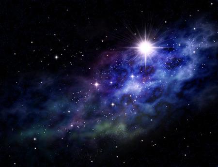 Fundo imaginário do espaço profundo e campo de estrelas