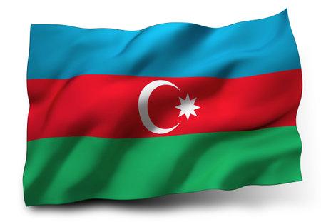 azerbaijani: Waving flag of Azerbaijan isolated on white background