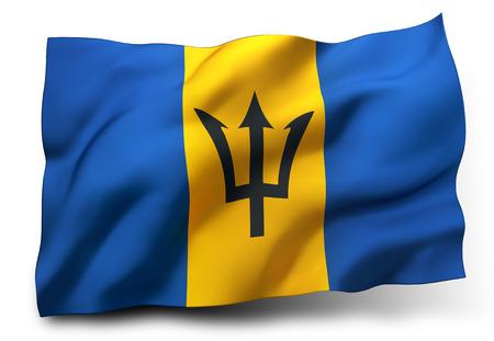 barbadian: Waving flag of Barbados isolated on white background