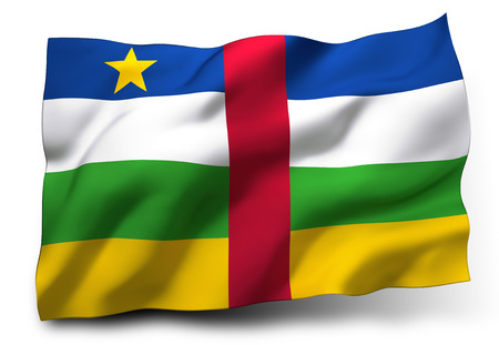 central african republic: Waving flag of Central African Republic isolated on white background