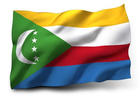 comoros: Waving flag of Comoros isolated on white background