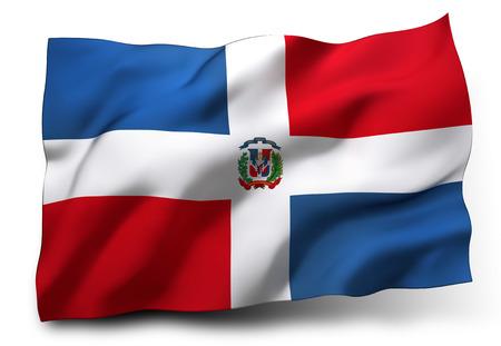 白い背景に分離されたドミニカ共和国の旗を振っています。