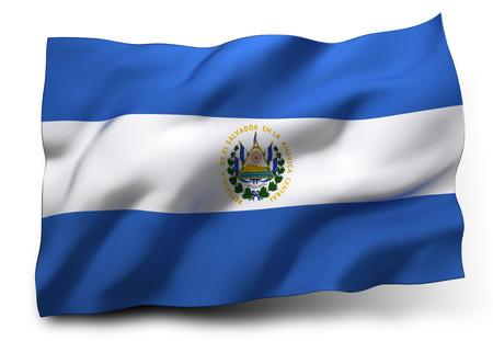 continente americano: Ondeando la bandera de El Salvador aislado en fondo blanco Foto de archivo