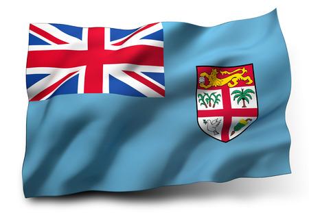 fijian: Waving flag of Fiji isolated on white background