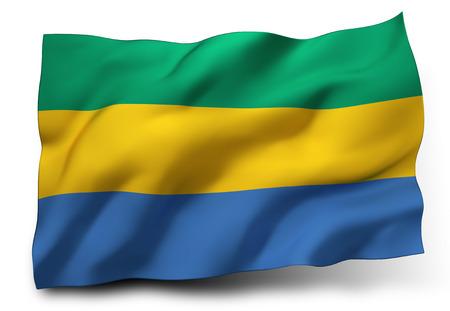 gabon: Waving flag of Gabon isolated on white background