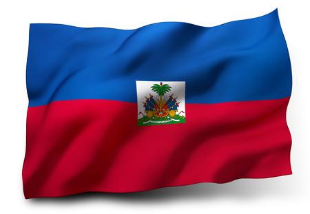 haiti: Waving flag of Haiti isolated on white background