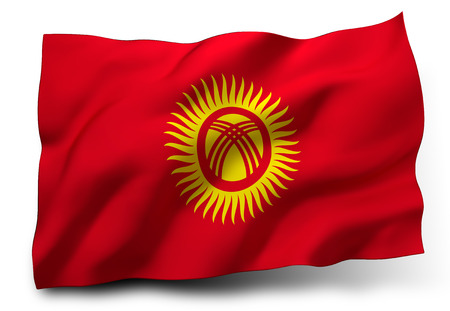 kyrgyz republic: Waving flag of Kyrgyzstan isolated on white background