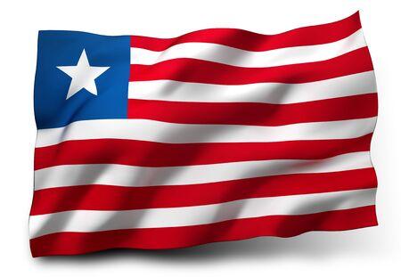 liberia: Waving flag of Liberia isolated on white background Stock Photo