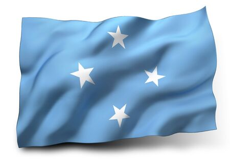 federated: Waving flag of Federated States of Micronesia isolated on white background