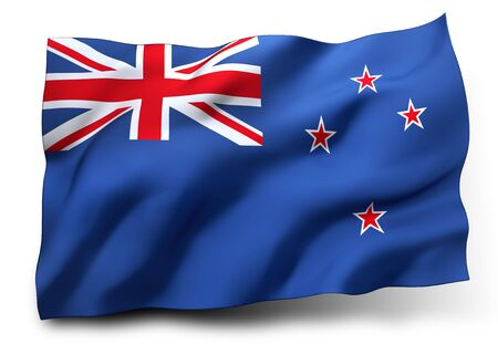 bandera de nueva zelanda: Ondeando la bandera de Nueva Zelanda aislado en fondo blanco