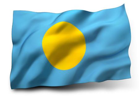 Waving flag of Palau isolated on white background photo