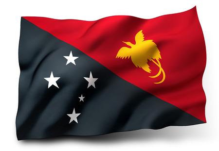 papua: Waving flag of Papua New Guinea isolated on white background