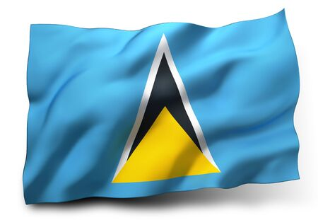 saint lucia: Waving flag of Saint Lucia isolated on white background Stock Photo
