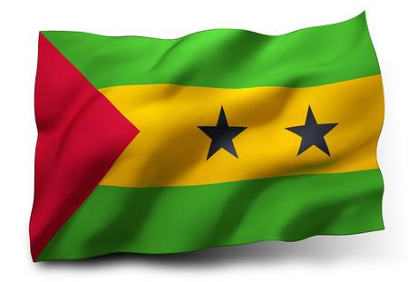 principe: Ondeando la bandera de Santo Tomé y Príncipe aislado en fondo blanco