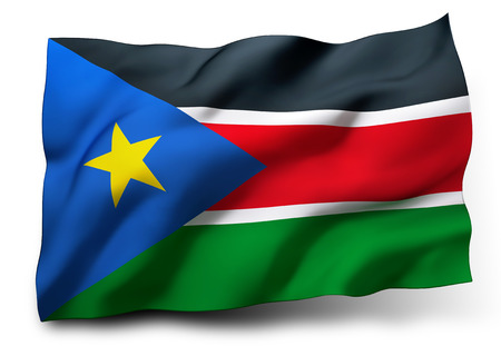 south sudan: Waving flag of South Sudan isolated on white background Stock Photo