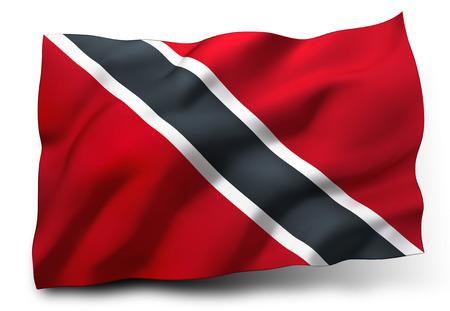 trinidadian: Waving flag of Trinidad and Tobago isolated on white background