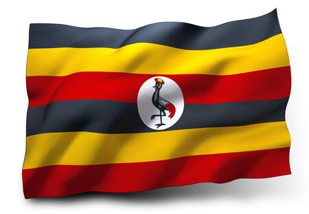 ugandan: Waving flag of Uganda isolated on white background